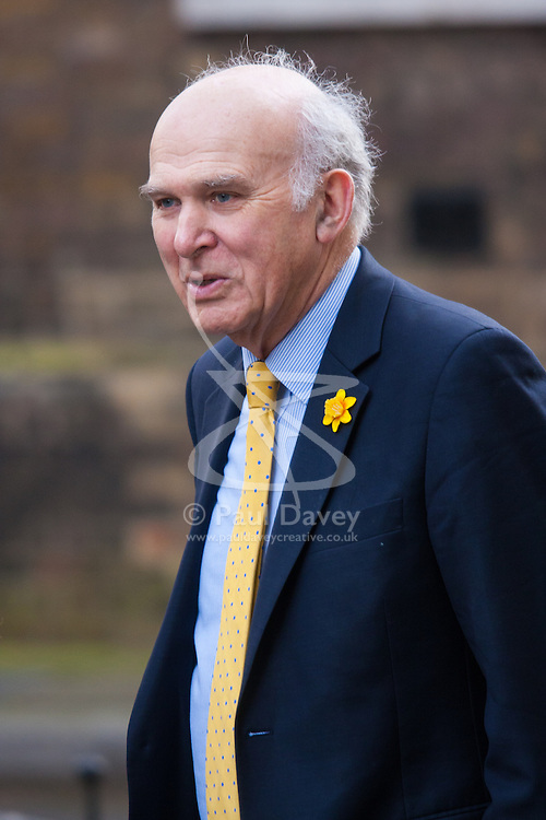 London, March 10th 2015. Ministers arrive at the weekly cabinet meeting at 10 Downing Street. PICTURED: Dr Vince Cable, Secretary of State for Business,
