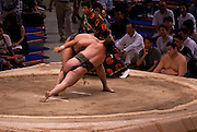 A bout in the controversial Nagoya summer Grand Sumo Tournament held on the 14th and second final day.