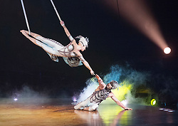 Cirque du Soleil <br /> 'OVO' <br /> at the Royal Albert Hall, London, Great Britain <br /> dress rehearsal <br /> 9th January 2018 <br /> <br /> Foot juggling and Iarian games - Ants <br /> <br /> Hand Balancing - dragonfly <br /> <br /> Tissue - cocoon <br /> <br /> Duo straps - butterflies <br /> <br /> Creatura <br /> <br /> Russian cradle - scarabs <br /> <br /> Web - spiders <br /> <br /> Diabolo - firefly <br /> <br /> Slackwire - male spider <br /> <br /> Trampo Wall - Crickets <br /> <br /> The Foreigner <br /> <br /> Master Filpo <br /> <br /> The Ladybug <br /> <br /> <br /> <br /> <br /> Photograph by Elliott Franks