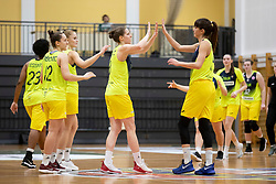 Players of ZKK Cinkarna Celje after basketball match between ZKK Cinkarna Celje (SLO) and MBK Ruzomberok (SVK) in Round #6 of Women EuroCup 2018/19, on December 13, 2018 in Gimnazija Celje Center, Celje, Slovenia. Photo by Urban Urbanc / Sportida