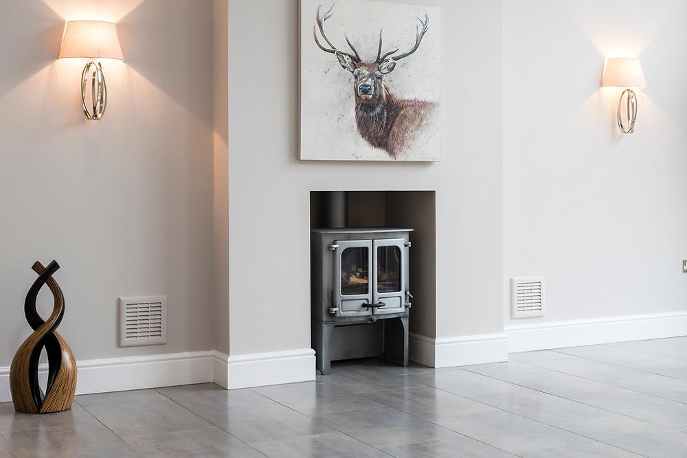 Beautiful grey log burner.