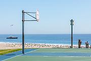 Empty Main Beach Basketball Court With No Hoops During Corona Virus Pandemic Shutdown