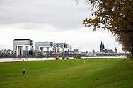 river Rhine floodplains in the district Deutz, the Crane Houses in the Rheinau harbor, in the background the cathedral, Cologne, Germany.<br /> <br /> die Rheinwiesen in Deutz, die Kranhaeuser im Rheinauhafen, im Hintergrund der Dom, Koeln, Deutschland.