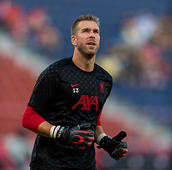 SALZBURG, AUSTRIA - Tuesday, August 25, 2020: Liverpool's goalkeeper Adrián San Miguel del Castillo during the pre-match warm-up before a preseason friendly match between FC Red Bull Salzburg and Liverpool FC at the Red Bull Arena. (Pic by Propaganda)