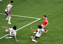 Russia's Denis Cheryshev scores his side's second goal of the game during the FIFA World Cup 2018, Group A match at Saint Petersburg Stadium.