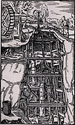 Suction pumps arranged in three tiers and linked by cranks.  Powered by a water wheel, they are being used to raise water from mine workings.  From 'De re metallica', by Agricola, pseudonym of Georg Bauer (Basle, 1556).  Woodcut.
