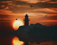 A lighthouse is meant to be a beacon for navigation. You can find a lighthouse along the coast anywhere in the world. In modern times, a lighthouse did lose some of its function due to more advanced technology; However, a lighthouse still retains its romantic function for many.<br /> This painting easily brings the atmosphere of the sea to your home. This coastal scene can be printed in different sizes and on different materials. Both on canvas, wood, metal or framed so it certainly fits into your interior. –<br /> -<br /> BUY THIS PRINT AT<br /> <br /> FINE ART AMERICA / PIXELS<br /> ENGLISH<br /> https://janke.pixels.com/featured/5-lighthouse-with-a-sunset-jan-keteleer.html<br /> <br /> <br /> WADM / OH MY PRINTS<br /> DUTCH / FRENCH / GERMAN<br /> https://www.werkaandemuur.nl/nl/shopwerk/Vuurtoren-met-een-zonsondergang-en-een-meeuw/782484/132?mediumId=15&size=70x55<br /> –<br /> -