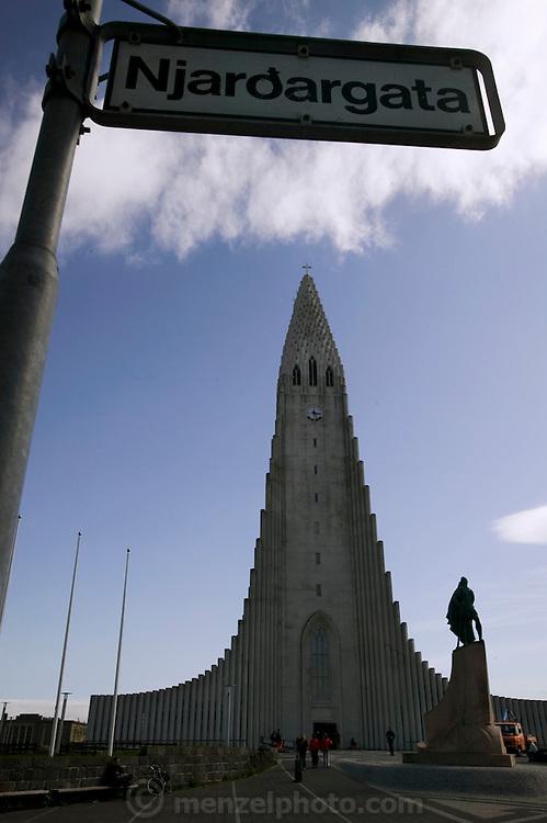 Hallgrímskirkja church in Reykjavik, Iceland, the world's most northern capital.