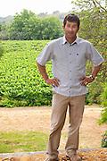 Christophe Blanc Chateau de Montpezat. Pezenas region. Languedoc. Owner winemaker. France. Europe. Vineyard.