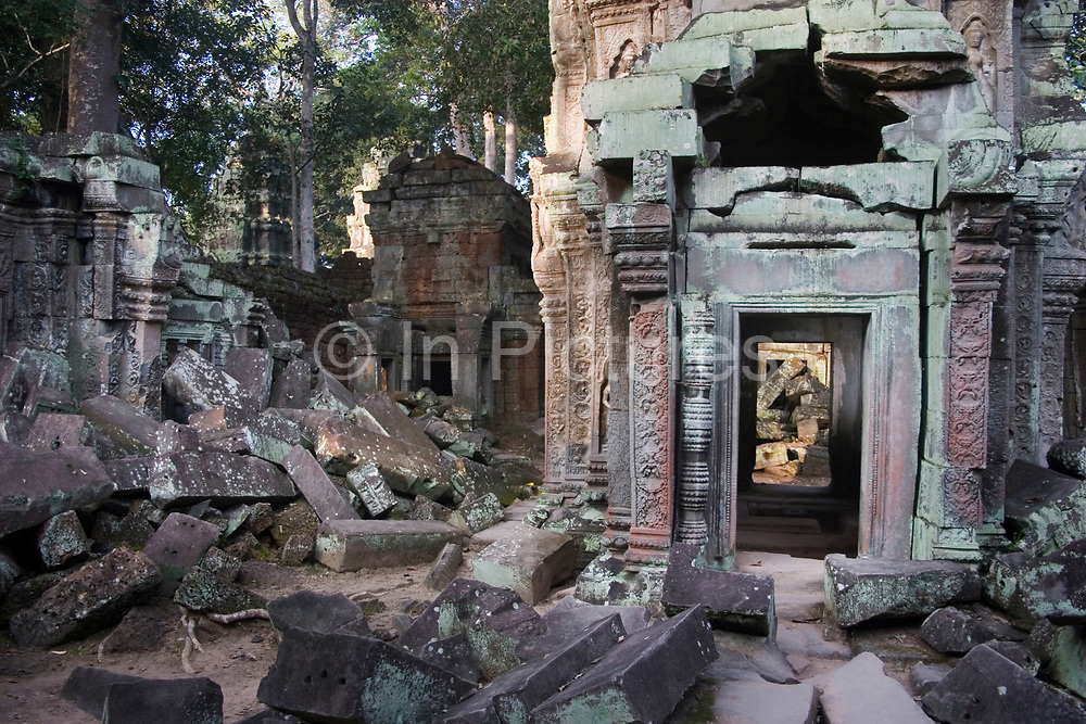 """Ta Promh is one of Angkor's most famous temples. Situated to the east of Angkor Thom, this temple is a testement to the jungle surrounding it. Many collapses have taken place and the enormous kapok trees of the encroaching jungle has engulfed many of it's walls. Known as the original """"Tomb Raider"""" temple, it was famously used as a set for the film of the same name. Constructed by Jayavarman VII in 1186, Ta Promh was a Buddhist monastery which was home to 12,000 people. A further 80,000 people were employed locally to service the temple and it's inhabitants."""