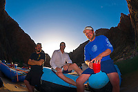 """River guides, Camping at """"Cremation"""", Whitewater rafting trip (oar trip) on the Colorado River in Grand Canyon, Grand Canyon National Park, Arizona USA"""