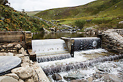 The intake point for Ynni Anafon Energy hydro project. One of the largest community owned hydro projects in the UK. The site of the Anafon Hydro lies in the Anafon valley in the Carneddau massif which rises immediately south of the village of Abergwyngregyn just inside the northern boundary of the Snowdonia National Park and 4 km west-south-west of Llanfairfechan. Gwynedd, North Wales.