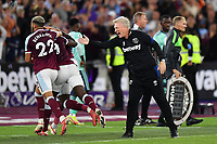 Football - 2021 / 2022 Premier League - West Ham United vs Leicester City - London Stadium - Monday 23rd August 2021<br /> <br /> West Ham United manager David Moyes celebrates his side's third goal scored by Michail Antonio.<br /> <br /> COLORSPORT/Ashley Western