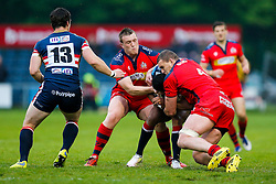 Bristol Rugby Prop Jack O'Connell and Lock Ian Evans tackle - Mandatory byline: Rogan Thomson/JMP - 18/05/2016 - RUGBY UNION - Castle Park - Doncaster, England - Doncaster Knights v Bristol Rugby - Greene King IPA Championship Play Off FINAL 1st Leg.