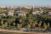 Aerial view of historic Charleston at White Point Gardens Charleston, South Carolina.