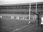 Derry goalie stretches to make a save during the All Ireland Senior Gaelic Football final Dublin vs Derry in Croke Park on 28th September 1958. Dublin 2-12 Derry 1-9.
