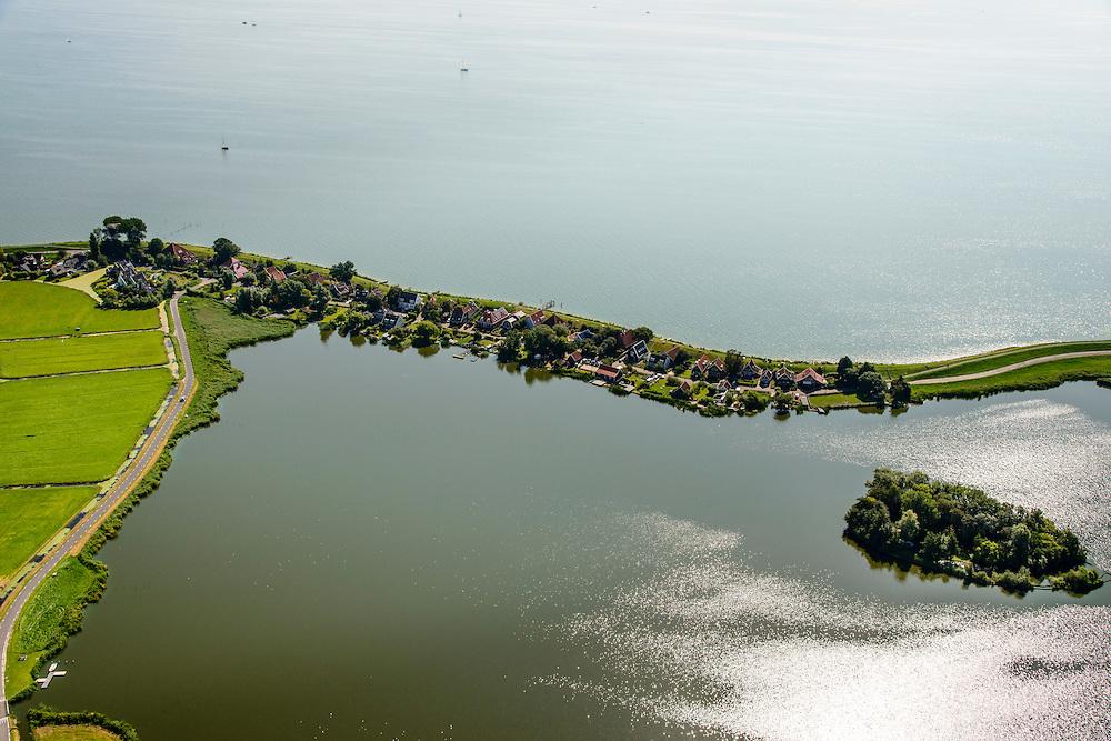 Nederland, Noord-Holland, Amsterdam, 05-08-2014; Uitdam en Uitdammer Die. Waterlandse Zeedijk (Uitdammerdijk) en IJsselmeer, Waterland.<br /> Waterland with (former) seawalll, near Amsterdam. IJssel lake.<br /> luchtfoto (toeslag op standard tarieven);<br /> aerial photo (additional fee required);<br /> copyright foto/photo Siebe Swart