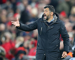 March 6, 2018 - Liverpool, U.S. - 6th March 2018, Anfield, Liverpool, England; UEFA Champions League football, round of 16, 2nd leg, Liverpool versus FC Porto; Sergio Conceicao, Porto manager urges on his players late in the second half as they search for a goal (Photo by Dave Blunsden/Actionplus/Icon Sportswire) ****NO AGENTS---NORTH AND SOUTH AMERICA SALES ONLY****NO AGENTS---NORTH AND SOUTH AMERICA SALES ONLY* (Credit Image: © Dave Blunsden/Icon SMI via ZUMA Press)