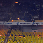 Fenerbahce soccer fans set fire the seats at the end of the Turkish Super League soccer match between Fenerbahce and Trabzonspor at Sukru Saracoglu stadium in Istanbul May 16, 2010. Bursaspor clinched the Turkish title on Sunday, becoming only the second club outside the Istanbul 'big three' to win the league as favourites Fenerbahce drew with Trabzonspor in a nail biting finish to the season. Photo by TURKPIX