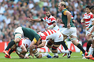 Japan's Captain Michael Leitch with the ball during the Rugby World Cup Pool B match between South Africa and Japan at the Community Stadium, Brighton and Hove, England on 19 September 2015. Photo by Phil Duncan.