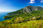 The village of Trstenik on the Peljesac Peninsula above the Adriatic Sea, Dalmatia, Croatia