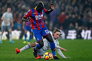 Mamadou Sakho of Crystal Palace (L) is tackled by Tom Davies of Everton (R). Premier League match, Crystal Palace v Everton at Selhurst Park in London on Saturday 18th November 2017.<br /> pic by Steffan Bowen, Andrew Orchard sports photography.