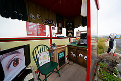 The UK's most northerly bus stop shelter with decoration inside at Haroldswick on Unst, Shetland , Scotland, UK