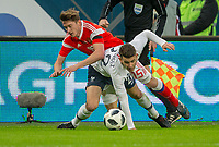 SAINT PETERSBURG, RUSSIA - MARCH 27: RUSSIA-FRANCE. International friendly football match at Saint Petersburg Stadium on March 27, 2018 in Saint-Petersburg, Russia.  Russian's Aleksey Miranchuk (Up) and French's Lucas Hernandez (Down). (Photo by MB Media/Getty Images)
