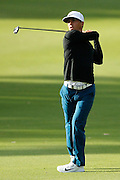 February 16th 2017, Lake Karrinyup Country Club, Perth, Western Australia, Australia; ISPS Handa World Super 6 Perth Golf Tournament Day 1; Thorbjorn Olesen (Den) plays an approach shot on the 11th fairway during the first round of the ISPS Handa World Super 6 Golf Tournament;