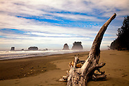 Second beach, driftwood, seastacks and clouds in blue sky