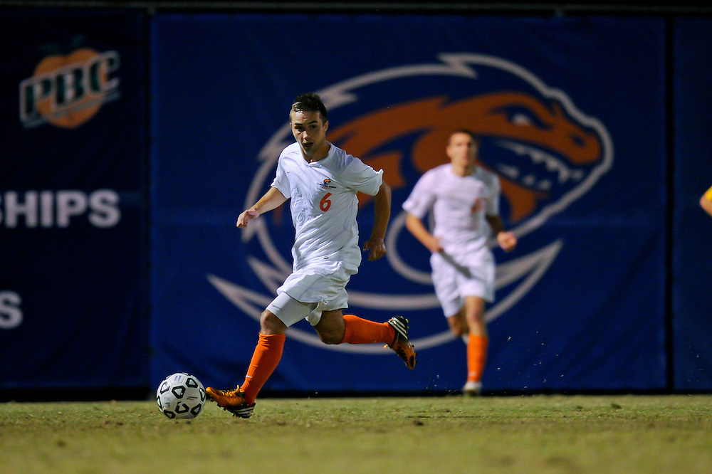 Sept. 26, 2012; Morrow, GA, USA; Clayton State men's soccer player Jonny Evans during the game against the Montevallo at CSU. Photo by Kevin Liles/kdlphoto.com