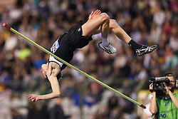 BRUSSELS, Sept. 1, 2018  Brandon Starc of Australia competes during the men's high jump event at the IAAF Diamond League athletics meeting in Brussels, Belgium, Aug. 31, 2018. Brandon Starc claimed the title with 2.33 meters. (Credit Image: © Zheng Huansong/Xinhua via ZUMA Wire)
