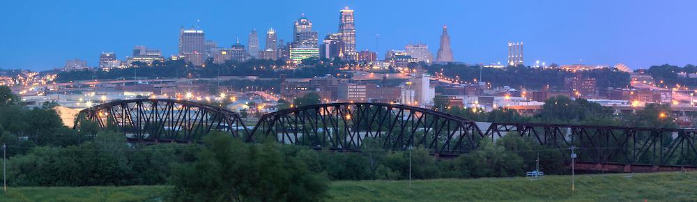 Panorama photo of Kansas City Missouri skyline at dusk, taken from Strawberry Hill neighborhood in Kansas City, Kansas for Performance Automotive.