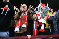 18th February 2017 - FA Cup - 5th Round - Burnley v Lincoln City - Lincoln fans celebrate with a tin foil FA Cup trophy - Photo: Simon Stacpoole / Offside.