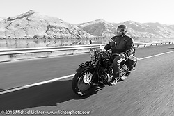 Bartek Mizerski riding his 1936 Sokol 1000 Polish motorcycle along the Snake River leaving Lewiston during Stage 15 (244 miles) of the Motorcycle Cannonball Cross-Country Endurance Run, which on this day ran from Lewiston, Idaho to Yakima, WA, USA. Saturday, September 20, 2014.  Photography ©2014 Michael Lichter.