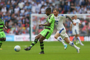 Forest Green Rovers Dale Bennett(6) passes the ball under pressure from Tranmere Rovers James Norwood(10) during the Vanarama National League Play Off Final match between Tranmere Rovers and Forest Green Rovers at Wembley Stadium, London, England on 14 May 2017. Photo by Shane Healey.