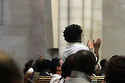 New York, NY- July 20: Audience attends the preaching of ' God is Here ' a sermon preached by Rev. Al Sharpton held at the historic Riverside Church on July 20, 2014 in New York City.  (Terrence Jennings)