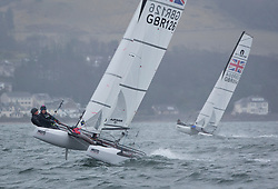 The annual RYA Youth National Championships is the UK's premier youth racing event. Day 3 with winds backing to the North the racing started on the Largs Channel.<br /> <br /> 126, William Smith, Abigail Clarke, Grafham SC/Lymington YC, Nacra 15 Open <br /> <br /> Images: Marc Turner / RYA<br /> <br /> For further information contact:<br /> <br /> Richard Aspland, <br /> RYA Racing Communications Officer (on site)<br /> E: richard.aspland@rya.org.uk<br /> m: 07469 854599