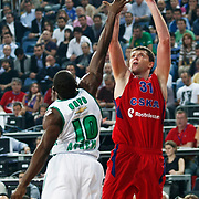 CSKA Moscow's Viktor Khryapa (R) during their Euroleague Final Four semi final Game 1 basketball match CSKA Moscow's between Panathinaikos at the Sinan Erdem Arena in Istanbul at Turkey on Friday, May, 11, 2012. Photo by TURKPIX