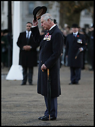 November 13, 2016 - London, United Kingdom - Image ¬©Licensed to i-Images Picture Agency. 13/11/2016. London, United Kingdom. Prince Charles Remembrance Sunday. ..The Prince of Wales doffs his hat to members of the Welsh Guard parading past, after he laid a wreath at the Guard's Memorial for the Welsh Guards' Regimental Remembrance Sunday, Horse Guards Road, London...Picture by i-Images / Pool (Credit Image: © i-Images via ZUMA Wire)