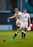 England fly-half Harry Mallinder kicks a penalty during the World Rugby U20 Championship  match England U20 -V- Australia U20 at The AJ Bell Stadium, Salford, Greater Manchester, England on June  15  2016, (Steve Flynn/Image of Sport)