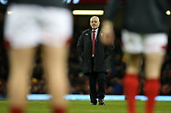 Warren Gatland, the Wales head coach watches his Wales team during prematch warm up. Wales v Scotland, NatWest 6 nations 2018 championship match at the Principality Stadium in Cardiff , South Wales on Saturday 3rd February 2018.<br /> pic by Andrew Orchard, Andrew Orchard sports photography