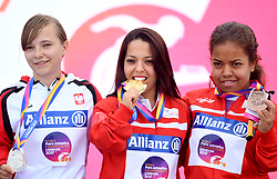(left-right) Poland's Renata Sliwinska, Tunisia's Rima Abdelli and Tunisia's Raja Jebali after the Women's Shot Put F40 during day four of the 2017 World Para Athletics Championships at London Stadium. PRESS ASSOCIATION Photo. Picture date: Monday July 17, 2017. See PA story ATHLETICS Para. Photo credit should read: Victoria Jones/PA Wire. RESTRICTIONS: Editorial use only. No transmission of sound or moving images and no video simulation.
