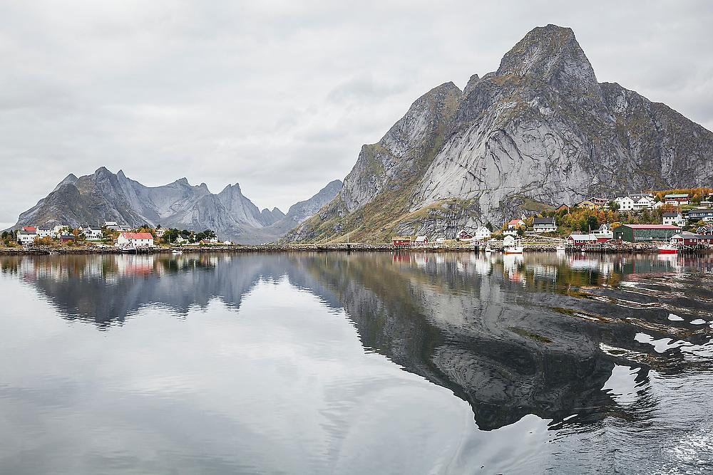 The coastal town of Reine at the outlet of Reinefjorden, Moskenesoya, Lofoten Islands, Norway.
