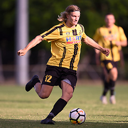 BRISBANE, AUSTRALIA - JANUARY 27: Lachie Strogusz of the Jets in action during the Kappa Silver Boot Third Place match between Moreton Bay United and Brisbane City on January 27, 2018 in Brisbane, Australia. (Photo by Patrick Kearney)
