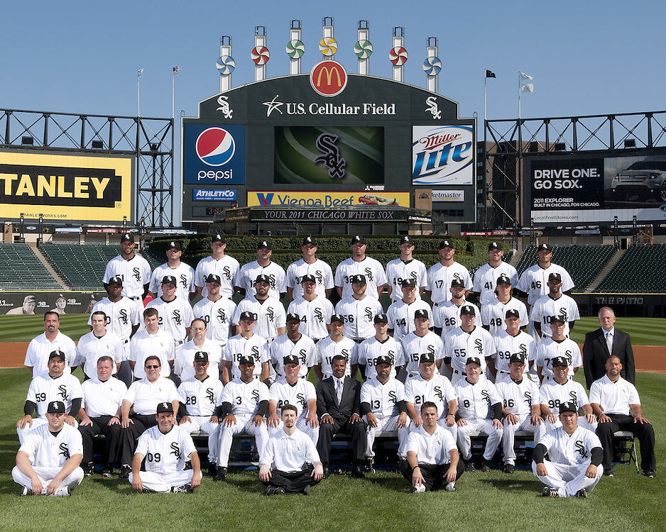 CHICAGO - AUGUST 16:  The Chicago White Sox pose for their official team photo on August 16, 2011 at U.S. Cellular Field in Chicago, Illinois.  FIRST ROW:  Batboys  SECOND ROW:  Bullpen Catcher Mark Salas, Assistant Trainer Brian Ball, Head Trainer Herm Schneider, Bench Coach Joey Cora, First Base Coach Harold Baines, Hitting Coach Greg Walker, General Manager Ken Williams, Manager Ozzie Guillen, Pitching Coach Don Cooper, Third Base Coach Jeff Cox, Bullpen Coach Juan Nieves, Pre-Game Instructor Omer Munoz, Director of Conditioning Allen Thomas  THIRD ROW:  Visiting Clubhouse Manager Gabe Morell, Umpires Clubhouse Manager Joe McNamara Jr., White Sox Clubhouse Assistant Manager Rob Warren, White Sox Clubhouse Manager Vince Fresso, Brent Lillibridge, Juan Pierre, Omar Vizquel, Jason Frasor, Gordon Beckham, Donny Lucy, Pre-Game Instructor Kevin Hickey, Computer Scouting Analyst Mike Gellinger, Director of Team Travel Ed Cassin   FOURTH ROW:  Alejandro De Aza, Brent Morel, John Danks, Carlos Quentin, Paul Konerko, Mark Buehrle, Jake Peavy,  Jesse Crain, Zach Stewart, Alexei Ramirez  FIFTH ROW:  Alex Rios, Will Ohman, Gavin Floyd, A.J. Pierzynski, Matt Thornton, Adam Dunn, Chris Sale, Tyler Flowers, Philip Humber, Sergio Santos. NOT PICTURED:  Tony Pena, Ramon Castro (Disabled List). (Photo by Ron Vesely)