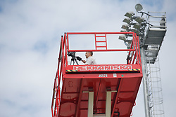 June 21, 2018 - Dedovsk, RUSSIA - Belgium's video analyst Moussa El Habchi works from a raised platform during a training session of Belgian national soccer team the Red Devils in Dedovsk, near Moscow, Russia, Thursday 21 June 2018. The team is preparing for their second game at the FIFA World Cup 2018. BELGA PHOTO BRUNO FAHY (Credit Image: © Bruno Fahy/Belga via ZUMA Press)