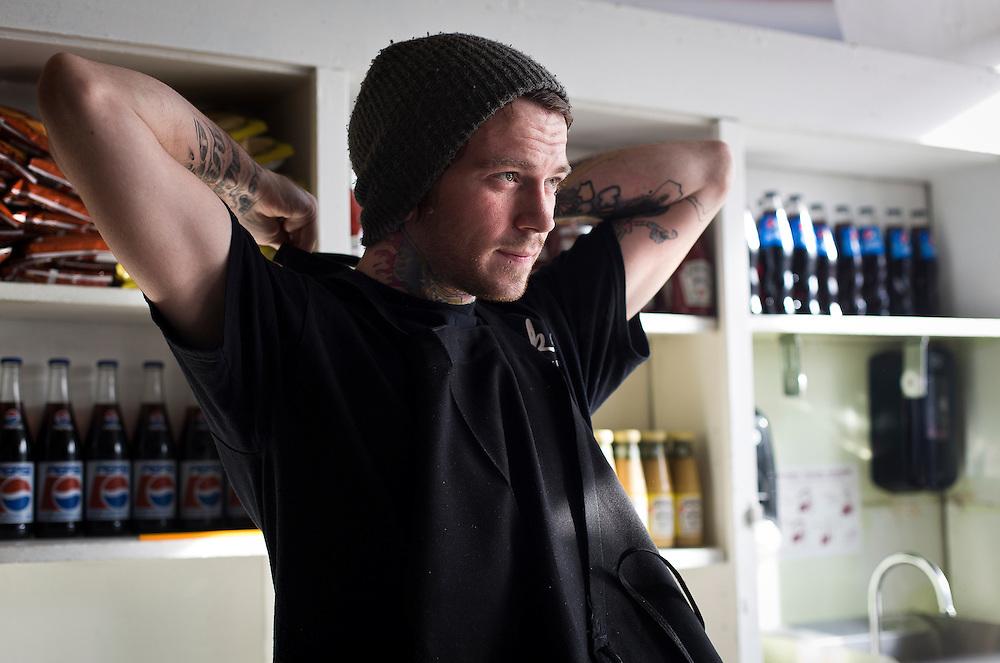 MILWAUKEE, WI - NOVEMBER 17: Ian Pfeiffer, 25, poses for a portrait at Jake's Delicatessen on Thursday, November 17, 2016.