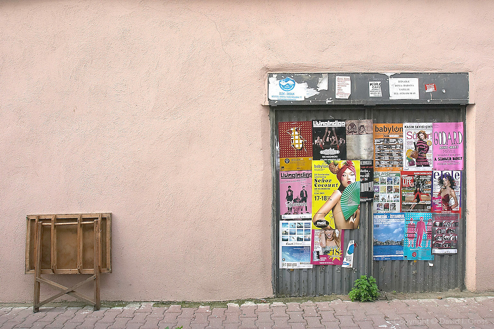 Posters for music and art on a street in Cihangir, Istanbul.