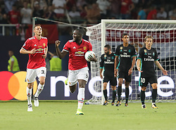 August 8, 2017 - Skopje, Macedonia - Romelu Lukaku of Manchester United celebrates scoring their first goal during the UEFA Super Cup match between Real Madrid and Manchester United at Philip II Arena on August 8, 2017 in Skopje, Macedonia. (Credit Image: © Ahmad Mora/NurPhoto via ZUMA Press)